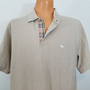 Burberry London Solid Tan Cotton Nova Check Placke
